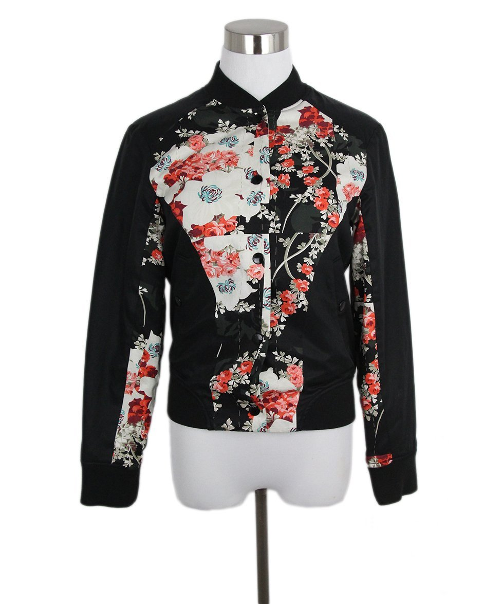 Rag Bone Black Red White Floral Cotton Polyester Reversible Jacket Sz 2