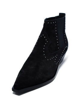 Rag & Bone Black Suede Studs Elastic Trim Booties 1