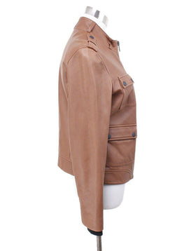 Rag & Bone Brown Leather Zipper Jacket Sz 6
