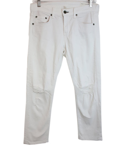 Rag & Bone White Denim Pants with distressed detail 1