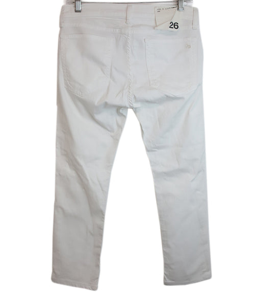 Rag & Bone White Denim Pants with distressed detail 2