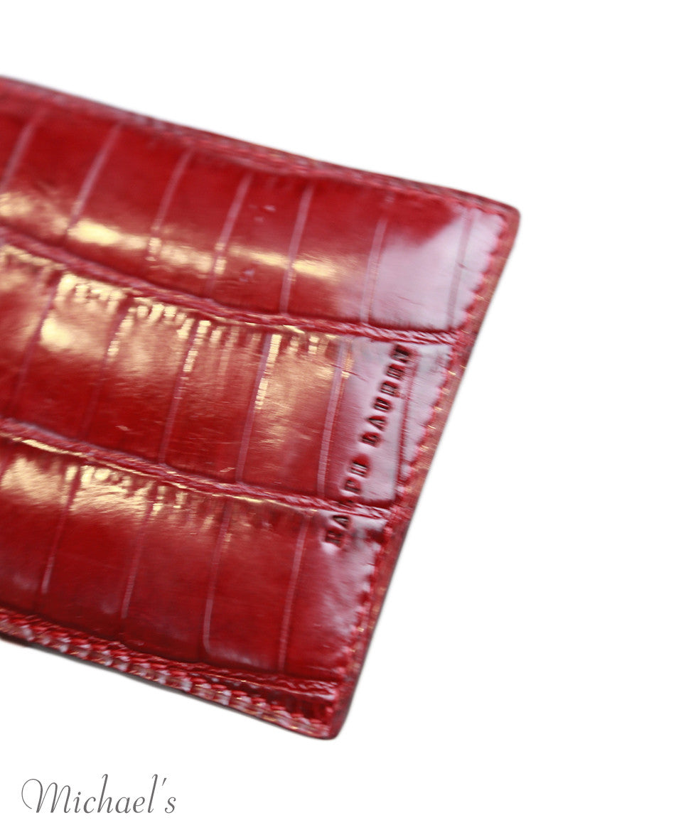 Ralph Lauren Red Crocodile Skin  Card Case