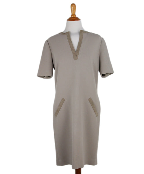 Ralph Lauren Beige Wool Suede Trim Dress 1