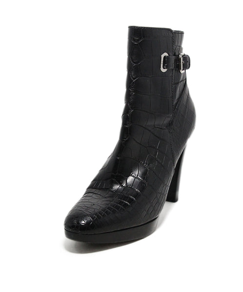 Ralph Lauren Black Alligator silver buckle booties 1