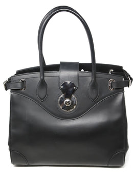 "Ralph Lauren ""Ricky Bag"" Black Leather Silver Trim Handbag 1"
