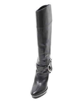 Ralph Lauren Black Leather Silver Chain Trim Platform Boots 1