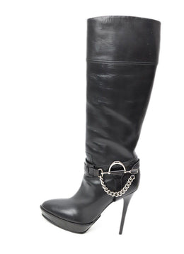 Ralph Lauren Black Leather Silver Chain Trim Platform Boots 2