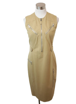 Ralph Lauren Khaki Cotton Zipper Detail Dress 1