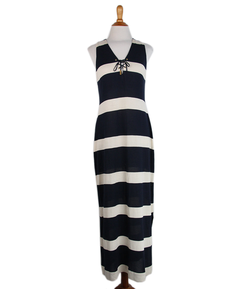 Ralph Lauren Navy Striped Silk Long Dress 1