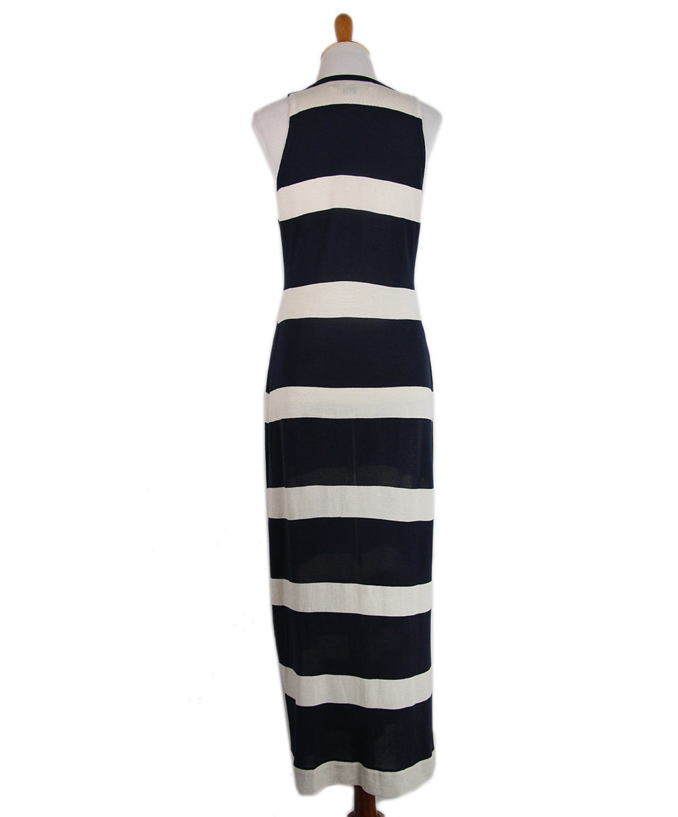 Ralph Lauren Navy Striped Silk Long Dress 3