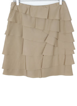 Ralph Lauren Neutral Tan Silk Skirt with Ruffle Detail 2