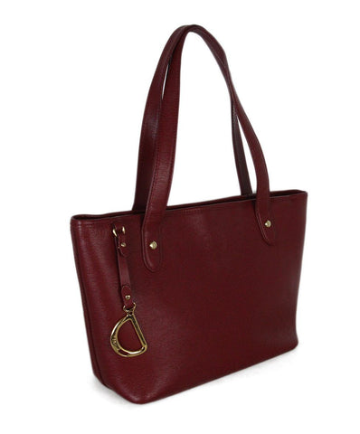 Ralph Lauren Red Leather Tote 1