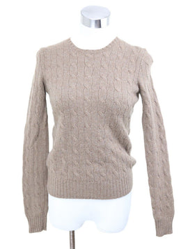 Ralph Lauren Neutral Cableknit Cashmere Sweater
