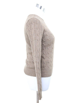 Ralph Lauren Neutral Cableknit Cashmere Sweater 1