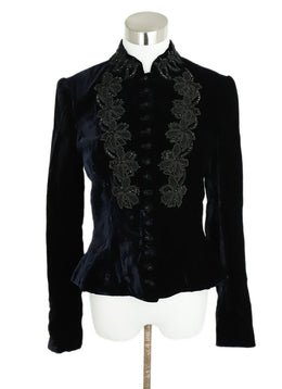 Ralph Lauren Blue Navy Velvet Black Beaded Jacket 1