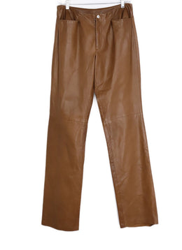 Ralph Lauren Brown Cognac Leather Pants 1