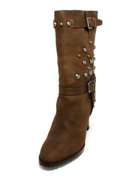 Ralph Lauren Brown Leather Silver Studs Boots 1