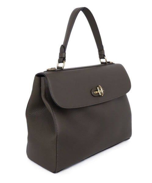 Ralph Lauren Brown Olive Leather Satchel Handbag 2