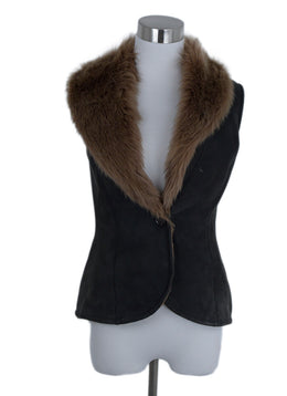 Ralph Lauren Vest Brown Shearling Charcoal Fur Outerwear 1