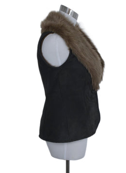 Ralph Lauren Vest Brown Shearling Charcoal Fur Outerwear 2