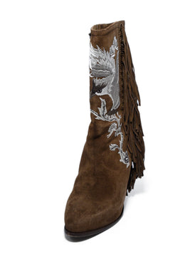 Ralph Lauren Brown Suede Ivory Embroidery Fringe Boots 1