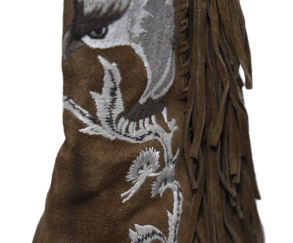 Ralph Lauren Brown Suede Ivory Embroidery Fringe Boots 7