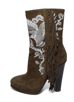 Ralph Lauren Brown Suede Ivory Embroidery Fringe Boots 2