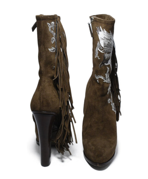 Ralph Lauren Brown Suede Ivory Embroidery Fringe Boots 3
