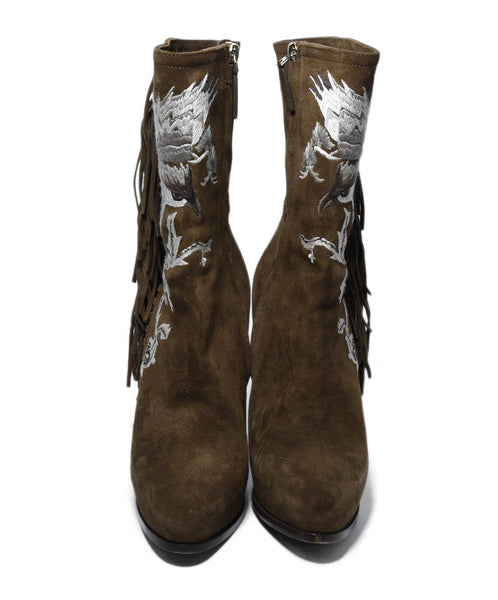Ralph Lauren Brown Suede Ivory Embroidery Fringe Boots 4