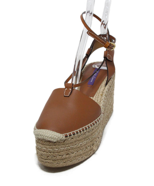 Ralph Lauren Brown Tan Leather Wedges 1