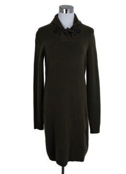 Ralph Lauren Green Olive Cashmere Toggle Trim Dress 1