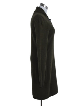 Ralph Lauren Green Olive Cashmere Toggle Trim Dress 2