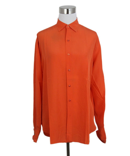 Ralph Lauren orange silk top 1