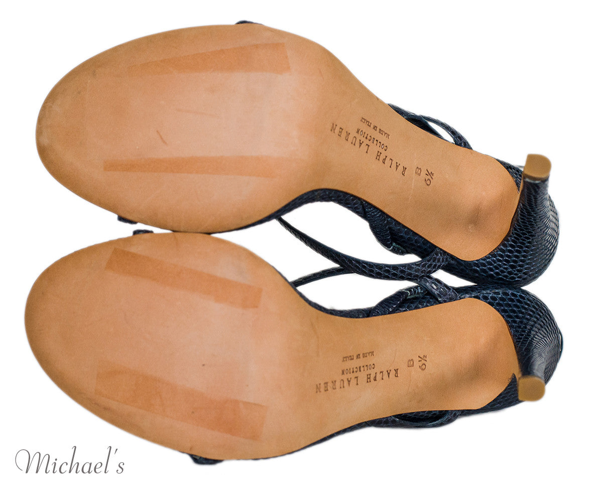 Ralph Lauren Navy Skin T-Strap Sandals 6.5 - Michael's Consignment NYC  - 5