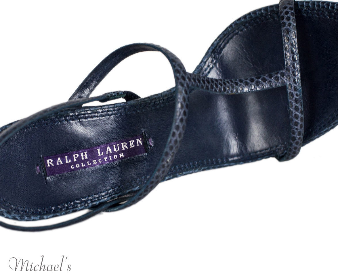 Ralph Lauren Navy Skin T-Strap Sandals 6.5 - Michael's Consignment NYC  - 7