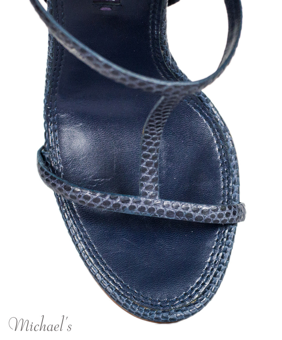 Ralph Lauren Navy Skin T-Strap Sandals 6.5 - Michael's Consignment NYC  - 6