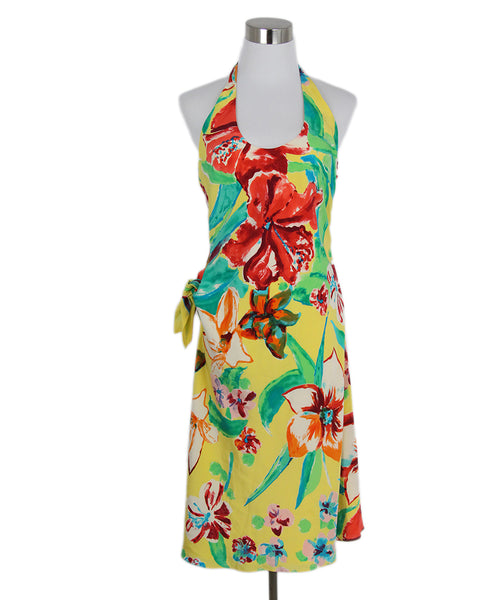 Ralph Lauren Yellow Red Green Floral Silk Halter Dress 1