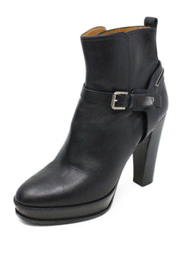 Ralph Lauren Black Leather Buckle Trim Booties 1