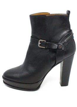 Ralph Lauren Black Leather Buckle Trim Booties 2