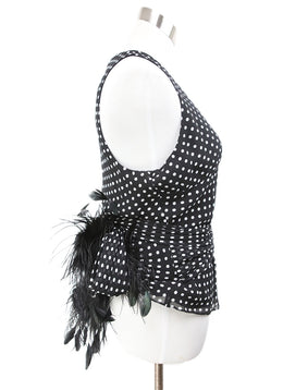 Ralph Lauren Black Polka Dots Silk Feathers Top 2