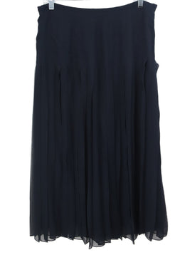 Ralph Lauren Navy Silk Pleated Skirt 1