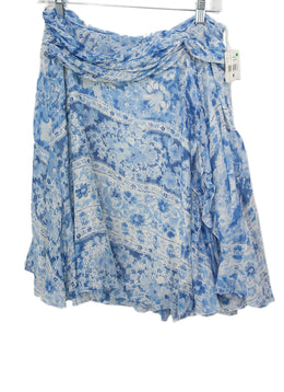Ralph Lauren Blue Print Linen Floral Cotton Skirt 1