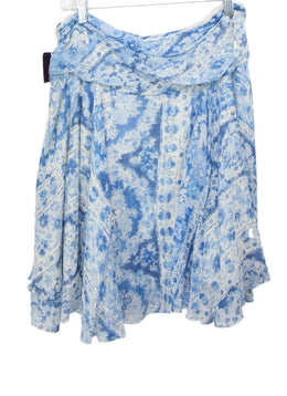 Ralph Lauren Blue Print Linen Floral Cotton Skirt 2