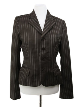 Ralph Lauren Brown White Stripes Wool Jacket 1