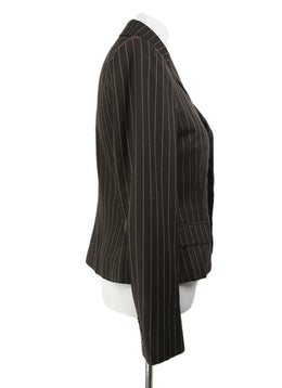 Ralph Lauren Brown White Stripes Wool Jacket 2