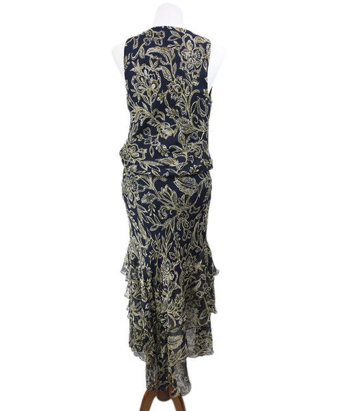 Ralph Lauren Navy Cream Print Silk Ruffle Dress 3