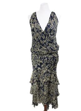 Ralph Lauren Navy Cream Print Silk Ruffle Dress 1