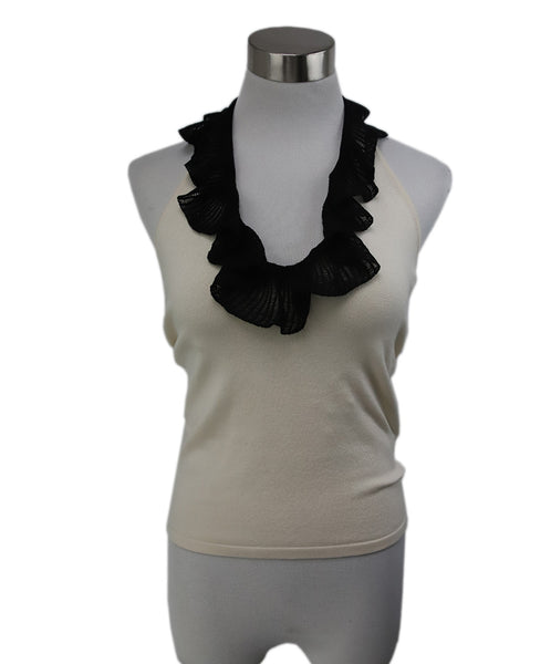 Ralph Lauren Cream Silk Nylon Black Ruffle Top 1