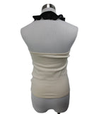 Ralph Lauren Cream Silk Nylon Black Ruffle Top 3