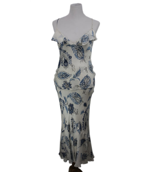 Ralph Lauren White Blue Print Silk Dress 1
